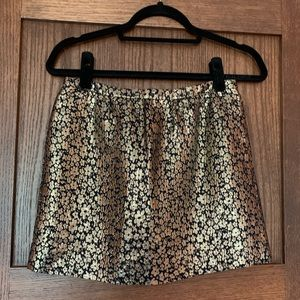 Gold J. Crew Collection silk mini skirt